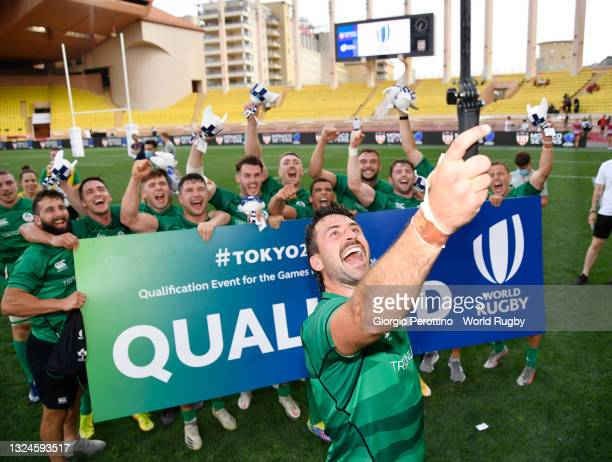 Players of Ireland Men's National Team celebrate the qualification for the Games of the XXXII Olympiad during day three of the World Rugby Sevens...