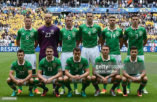 Players of Ireland pose for a team photo prior to the Euro 2016 group E football match between Ireland and Sweden at the Stade de France stadium in...