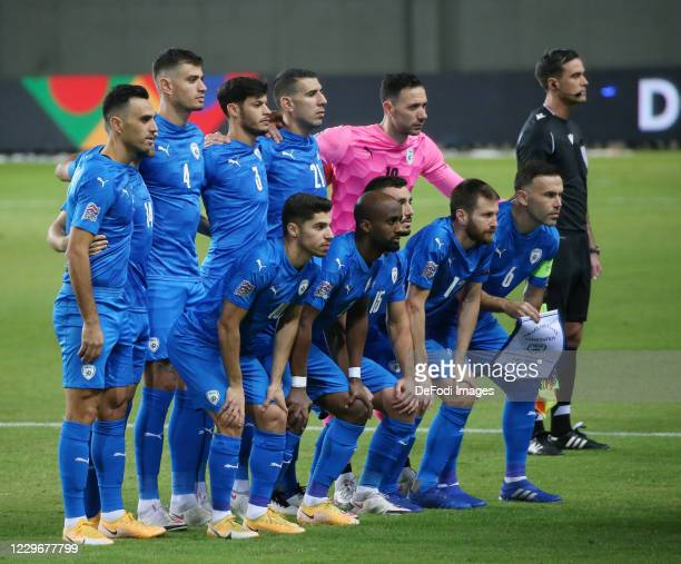 Players of Israel lines up during the UEFA Nations League group stage match between Israel and Scotland at Netanya Stadium on November 18, 2020 in...