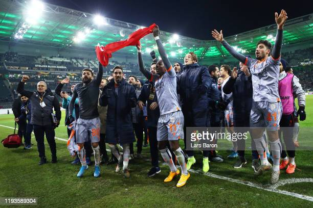 Players of Istanbul Basaksehir F.K. Celebrate following the UEFA Europa League group J match between Borussia Moenchengladbach and Istanbul...