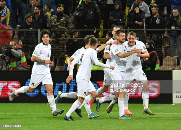 Players of Italian national soccer team, celebrate after scoring against Bosnia and Herzegovina, during EURO2020 qualifier match, in Zenica, on...