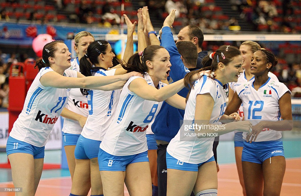 Cup a load of that! Italian volleyball players strip off