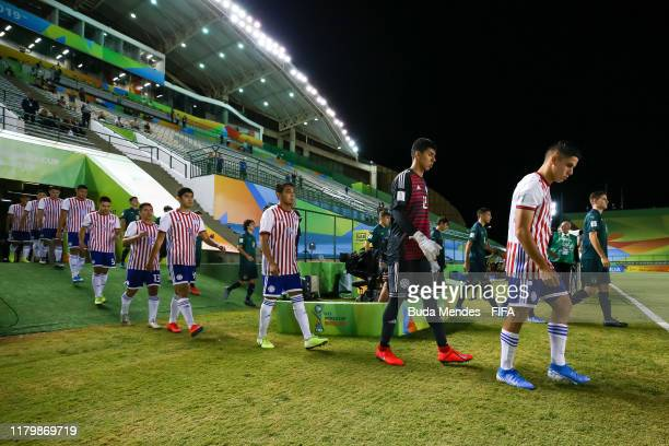 Players of Italy and Paraguay enter to the field before the FIFA U17 Men's World Cup Brazil 2019 group F match between Italy and Paraguay at Valmir...