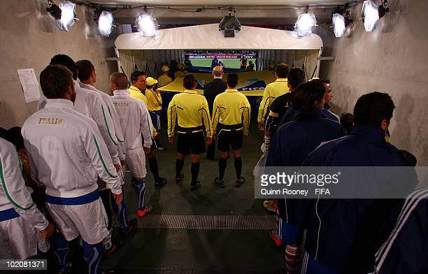 Players of Italy and Paraguay wait in the tunnel prior to the 2010 FIFA World Cup South Africa Group F match between Italy and Paraguay at Green...