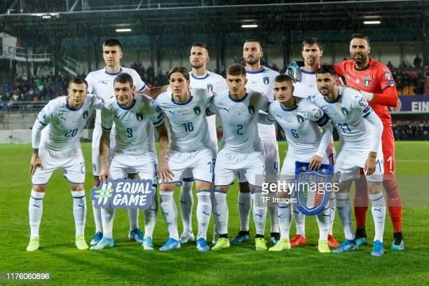 Players of Italy are seen prior to the UEFA Euro 2020 qualifier between Liechtenstein and Italy on October 15, 2019 in Vaduz, Liechtenstein.