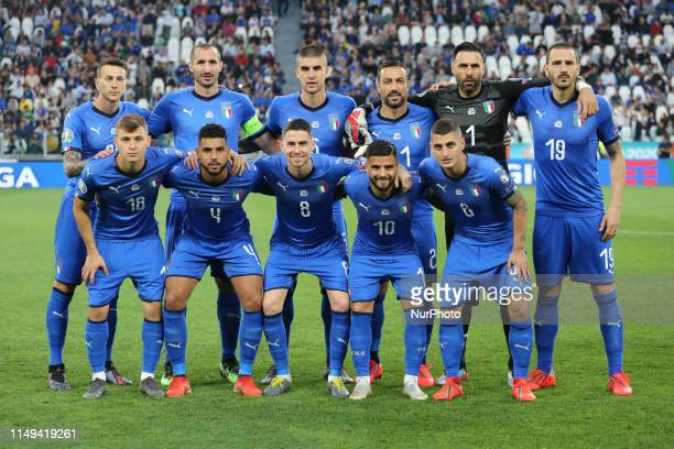 Players of Italy before the Euro 2020 Qualifier Group J match between Italy and Bosnia and Herzegovina at Allianz Stadium on June 11 2019 in Turin...