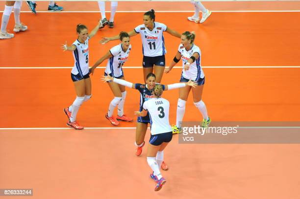 Players of Italy celebrate a point during the group match of 2017 Nanjing FIVB World Grand Prix Finals between Serbia and Italy at Nanjing Olympic...