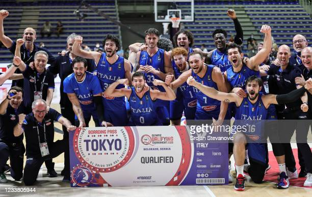 Players of Italy celebrate after winning the FIBA Basketball Olympic Qualifying Tournament Final match between Serbia and Italy at Aleksandar Nikolic...