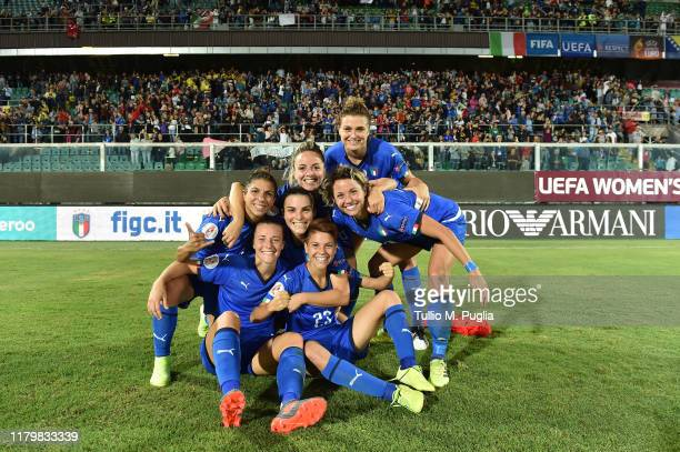 Players of Italy celebrate after winning the UEFA Women's European Championship 2021 qualifier match between Italy and Bosnia and Herzegovina at...