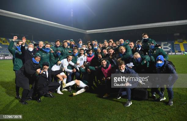 Players of Italy celebrate at the end of the UEFA Nations League group stage match between Bosnia-Herzegovina and Italy at Bilino Polje Stadium on...