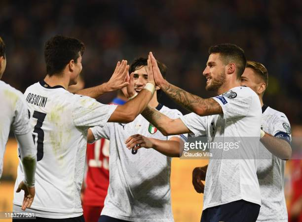 Players of Italy celebrate during the UEFA Euro 2020 Qualifier between Italy and Armenia on November 18 2019 in Palermo Italy