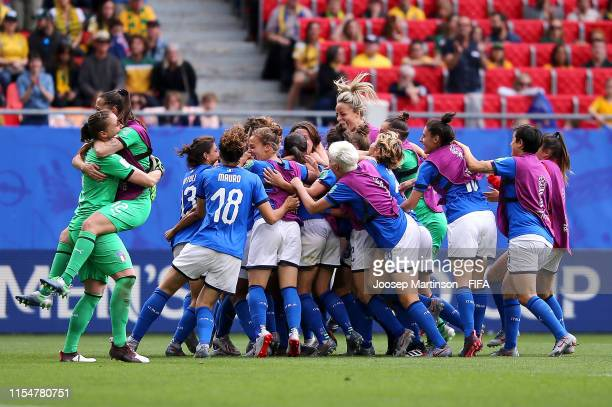 Players of Italy celebrate following victory in the 2019 FIFA Women's World Cup France group C match between Australia and Italy at Stade du Hainaut...