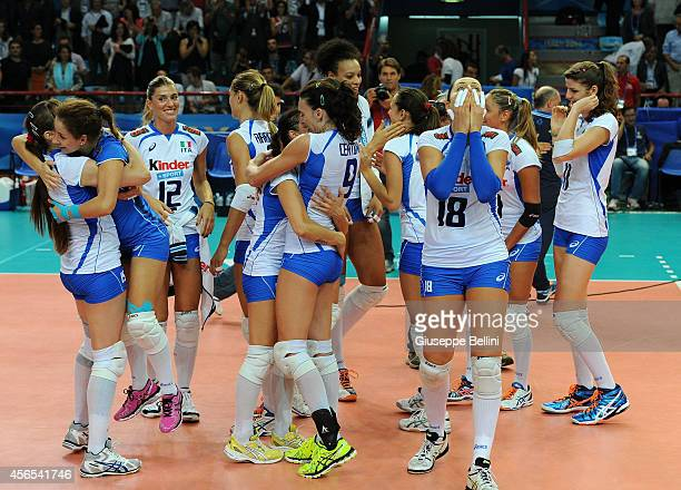 Players of Italy celebrate the victory after the FIVB Women's World Championship pool E match between Italy and Belgium on October 2 2014 in Bari...