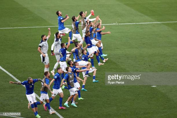 Players of Italy celebrate their side's victory towards the fans after the UEFA Euro 2020 Championship Group A match between Italy and Wales at...