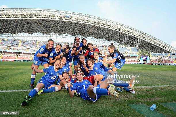Players of Italy celebrate victory during the FIFA U17 World Cup 3rd Place Playoff game between Venezuela and Italy at Estadio Nacional on April 4...