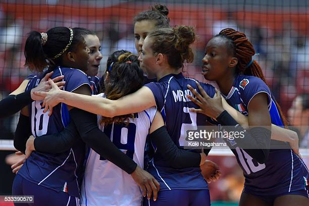 Players of Italy celebrates a point during the Women's World Olympic Qualification game between Italy and Kazakhstan at Tokyo Metropolitan Gymnasium...