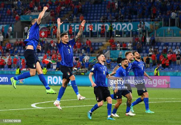 Players of Italy celebrates their side's victory after the UEFA Euro 2020 Championship Group A match between Italy and Switzerland at Olimpico...