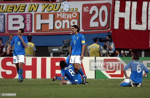 Players of Italy dejected during the South Korea v Italy, World Cup Second Round match played at the Daejeon World Cup Stadium, Daejeon, South Korea...