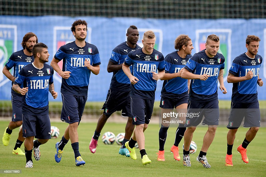 Players of Italy during a training session on June 10, 2014 in Rio de Janeiro, Brazil.