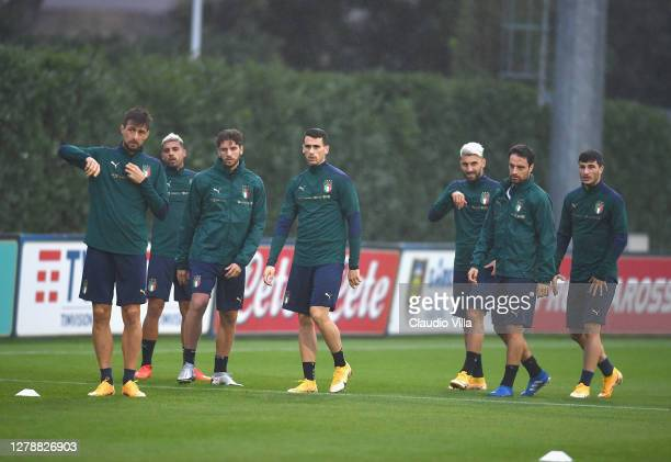 Players of Italy during an Italy training session at Centro Tecnico Federale di Coverciano on October 06, 2020 in Florence, Italy.