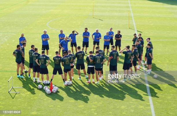 Players of Italy gather during a Italy training session at Centro Tecnico Federale di Coverciano on June 22, 2021 in Florence, Italy.