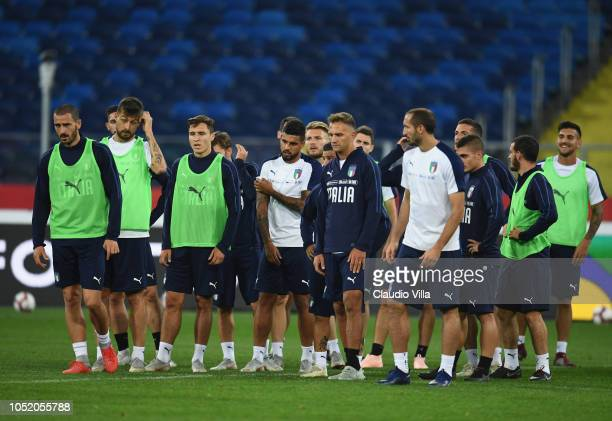 Players of Italy in action during a Italy training session at Silesian Stadium on October 13 2018 in Chorzow Poland