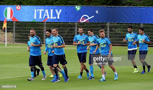Players of Italy in action during the training session at 'Bernard Gasset' Training Center on June 14 2016 in Montpellier France