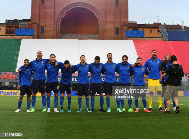 Players of Italy line up prior for the national anthem before the international friendly match between Italy and Czech Republic at Renato Dall'Ara on...