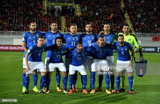 Players of Italy line up prior to the FIFA 2018 World Cup Qualifier between Albania and Italy at Loro Borici Stadium on October 9 2017 in Shkoder...