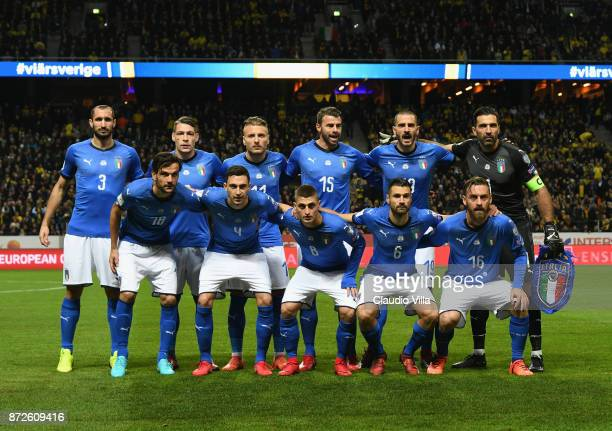 Players of Italy line up prior to the FIFA 2018 World Cup Qualifier PlayOff First Leg between Sweden and Italy at Friends Arena on November 10 2017...