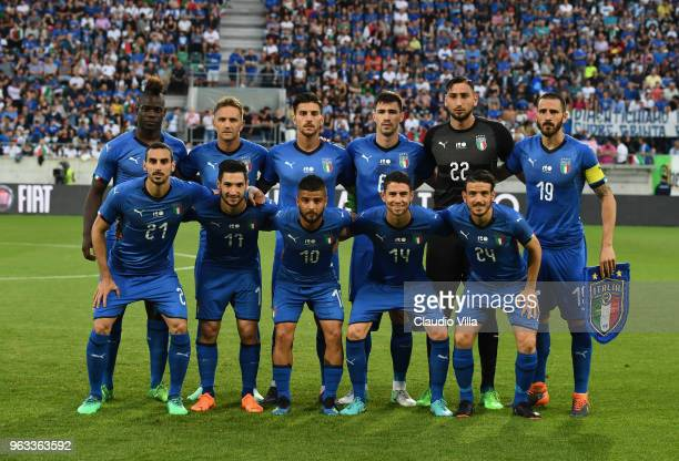 Players of Italy line up prior to the International Friendly match between Saudi Arabia and Italy on May 28 2018 in St Gallen Switzerland