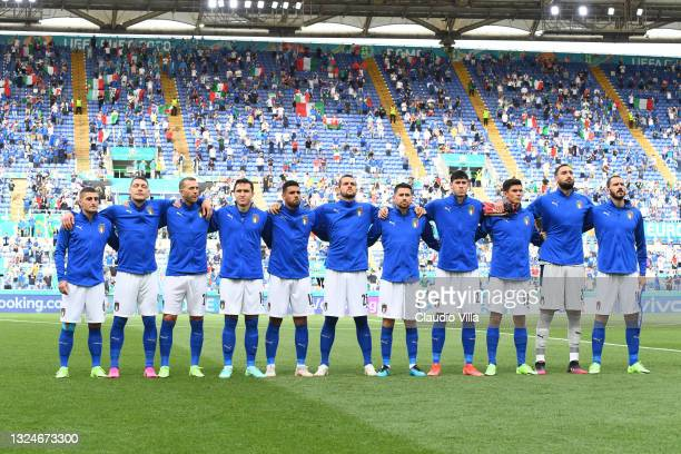 Players of Italy line-up prior to the UEFA Euro 2020 Championship Group A match between Italy and Wales at Olimpico Stadium on June 20, 2021 in Rome,...