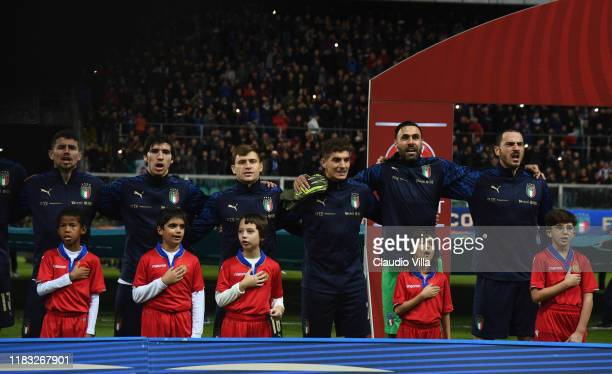 Players of Italy lining up during the hymn prior to the UEFA Euro 2020 Qualifier between Italy and Armenia on November 18 2019 in Palermo Italy