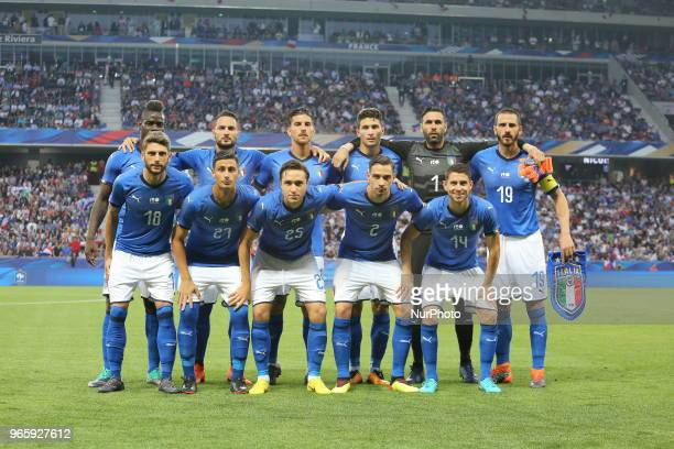 Players of Italy National Team before the friendly football match between France and Italy at Allianz Riviera stadium on June 01 2018 in Nice France...