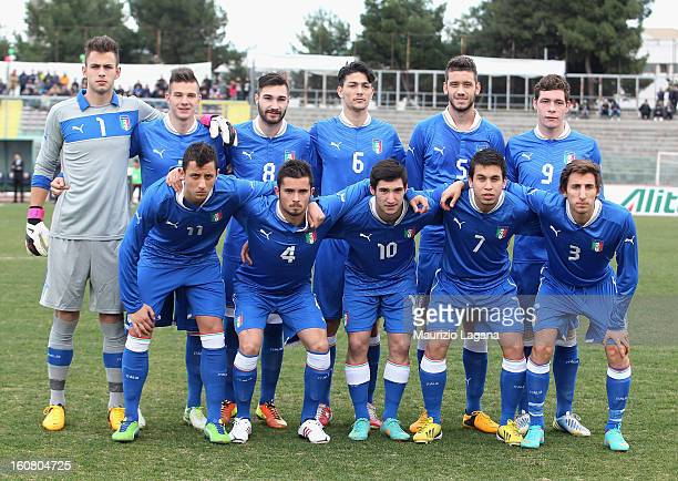 Players of Italy pose for a group photograph before the U20 International Friendly match between Italy and Germany at Stadio Cosimo Puttilli on...