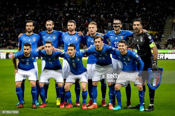 Players of Italy pose for a team photo prior to the FIFA 2018 World Cup Qualifier PlayOff Second Leg between Italy and Sweden The match ended in a 00...