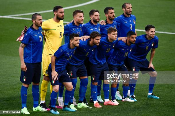 Players of Italy pose for a team photo prior to the international friendly match between Italy and Czech Republic. Italy won 4-0 over Czech Republic.