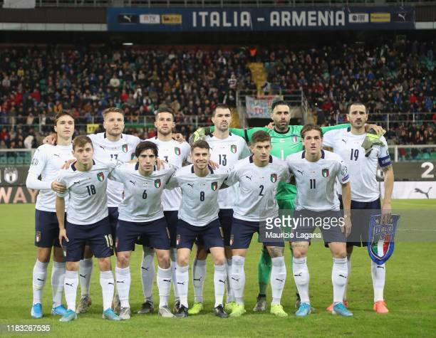 Players of Italy pose for photo prior the UEFA Euro 2020 Qualifier between Italy and Armenia on November 18 2019 in Palermo Italy