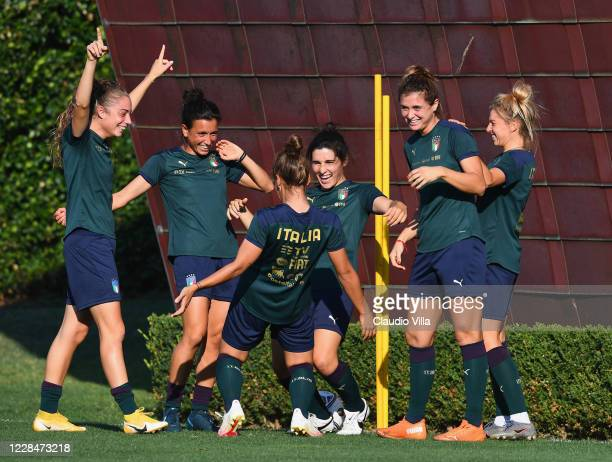 Players of Italy react during a training session at Centro Tecnico Federale di Coverciano on September 12, 2020 in Florence, Italy.