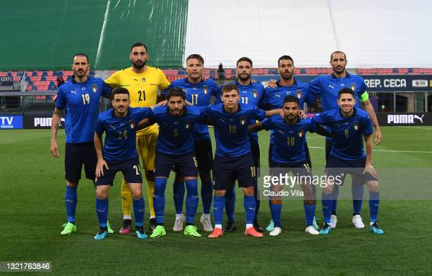 Players of Italy Roberto Mancini line up prior to the international friendly match between Italy and Czech Republic at Renato Dall'Ara on June 04,...
