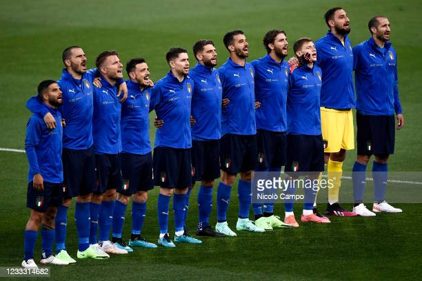Players of Italy sing national anthem prior to the international friendly match between Italy and Czech Republic. Italy won 4-0 over Czech Republic.
