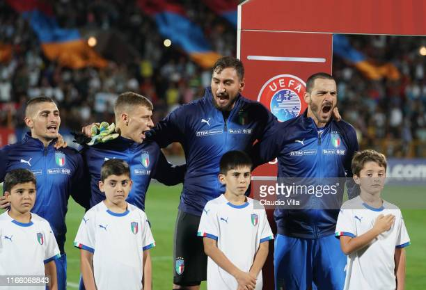 Players of Italy sing the national anthem ahead of the UEFA Euro 2020 qualifier between Armenia and Italy at Republican Stadium after Vazgen Sargsyan...