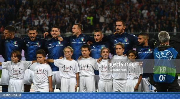 Players of Italy sing the national anthem before the International Friendly match between Italy and Ukraine on October 10 2018 in Genoa Italy