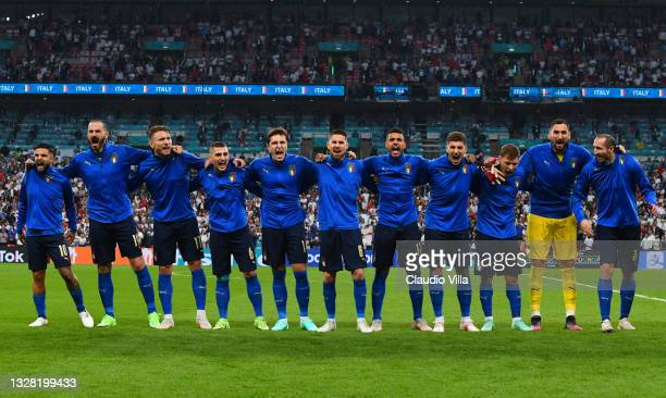 Players of Italy sing the national anthem prior to the UEFA Euro 2020 Championship Final between Italy and England at Wembley Stadium on July 11,...