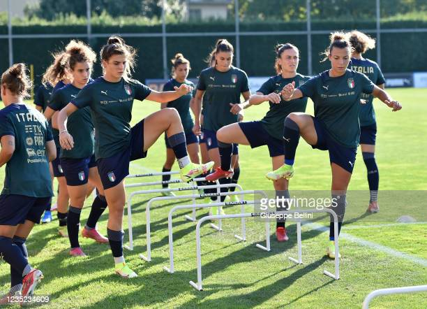 Players of Italy Women during an Italy Women Training Session at Centro Tecnico Federale di Coverciano on September 13, 2021 in Florence, Italy.