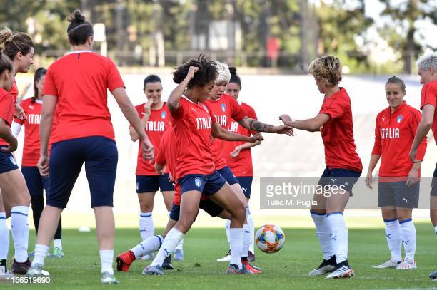 Players of Italy Women in action during a training session at Stadium Lille Metropole on June 17, 2019 in in Villeneuve d'Ascq near Lille, France.
