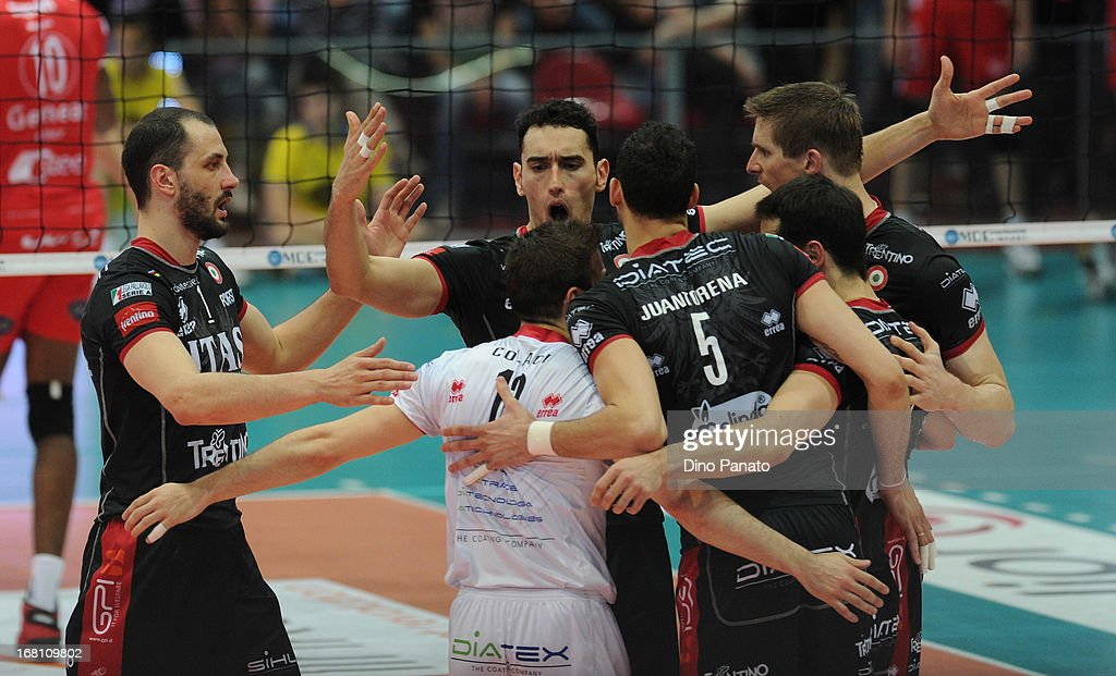 Players of Itas Diatec Trentino celebrate after scoring a point during game 4 of Playoffs Finals between Copra Elior Piacenza and Itas Diatec Trento at Palabanca on May 5, 2013 in Piacenza, Italy.