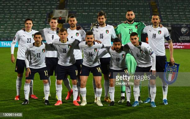 Players of Itlay line up prior to the FIFA World Cup 2022 Qatar qualifying match between Bulgaria and Italy on March 28, 2021 in Sofia, Bulgaria.