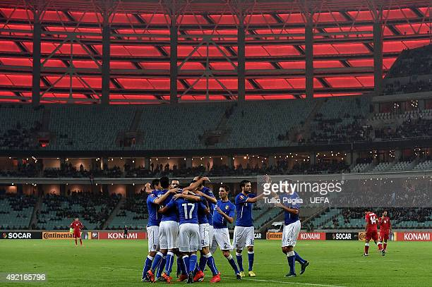Players of Iyaly celebrate after scoring their second goal during the UEFA EURO 2016 Qualifier between Azerbaijan and Italy at Tofig Bahramov Stadium...