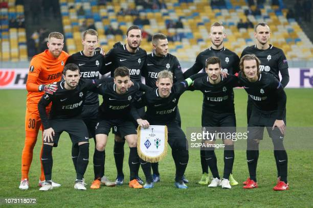 Players of Jablonec are seen posing for a photo after the UEFA Europa League Group K soccer match between FC Dynamo Kiev and FK Jablonec at the NSK...